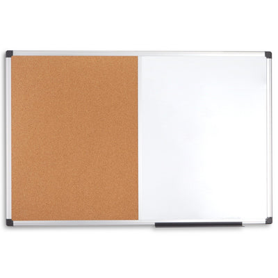 "Combination Magnetic Whiteboard and Corkboard with Aluminum Frame, 24"" x 36"""