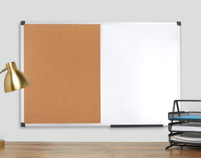 "Combination Magnetic Whiteboard and Corkboard with Aluminum Frame, 24"" x 36"" Corkboard Blue Summit Supplies"