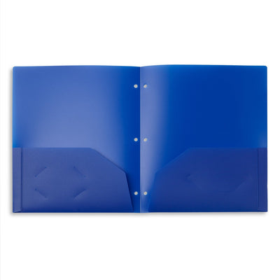Plastic Two Pocket Folders, 3-Hole Punched, Assorted Colors, 12 Count Folders Blue Summit Supplies