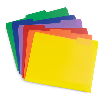 Plastic File Folders, Letter Size, Assorted Colors, 30 Pack