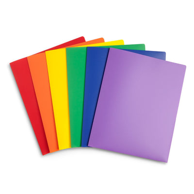 Plastic Two-Pocket Folders with Reinforced Corners, Assorted Colors, 6 Pack Folders Blue Summit Supplies