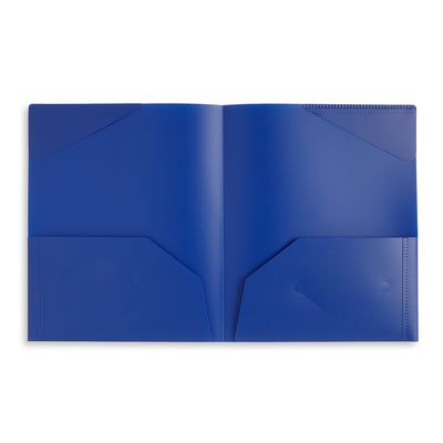 Plastic Two-Pocket Folders with Reinforced Corners, Assorted Bold Colors, 6 Pack Folders Blue Summit Supplies