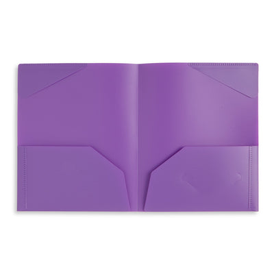 Plastic Two-Pocket Folders with Reinforced Corners, Assorted Colors, 12 Pack Folders Blue Summit Supplies