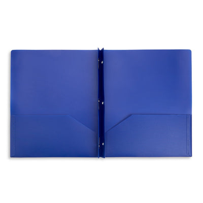 Plastic Two Pocket Folders with Prongs, Assorted Bold Colors, 30 Pack Folders Blue Summit Supplies