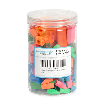 Colorful Pencil Sharpener & Eraser Bundle, 100 Pieces Accessories Blue Summit Supplies