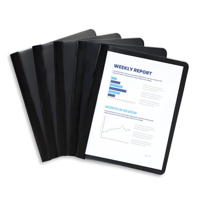 Black Plastic Report Covers with Prongs, 25 Pack Report Covers Blue Summit Supplies