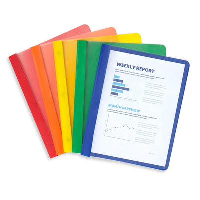 Assorted Colors Plastic Report Covers with Prongs, 25 Pack Report Covers Blue Summit Supplies