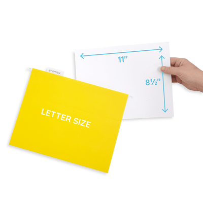 Hanging File Folders, Letter Size, Yellow, 25 Pack Folders Blue Summit Supplies