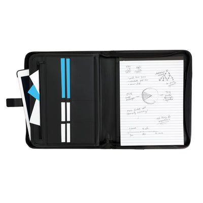 Leather Zipper Portfolio Portfolio Blue Summit Supplies
