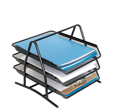 3-Tray Desktop File Organizer, Metal Mesh Organizers Blue Summit Supplies