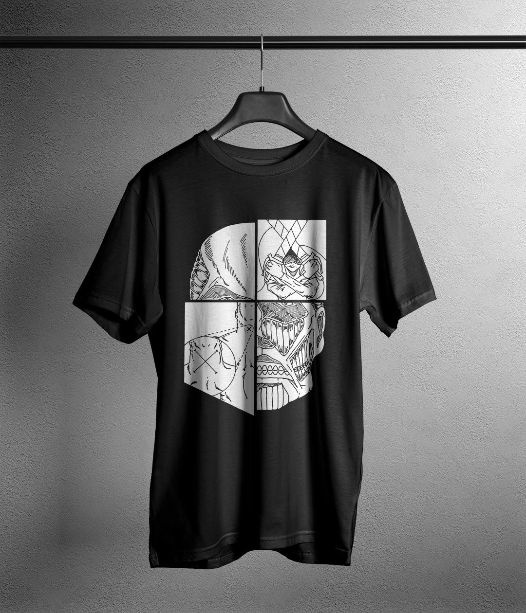 black t shirt with attack on titan anime shield printed in white