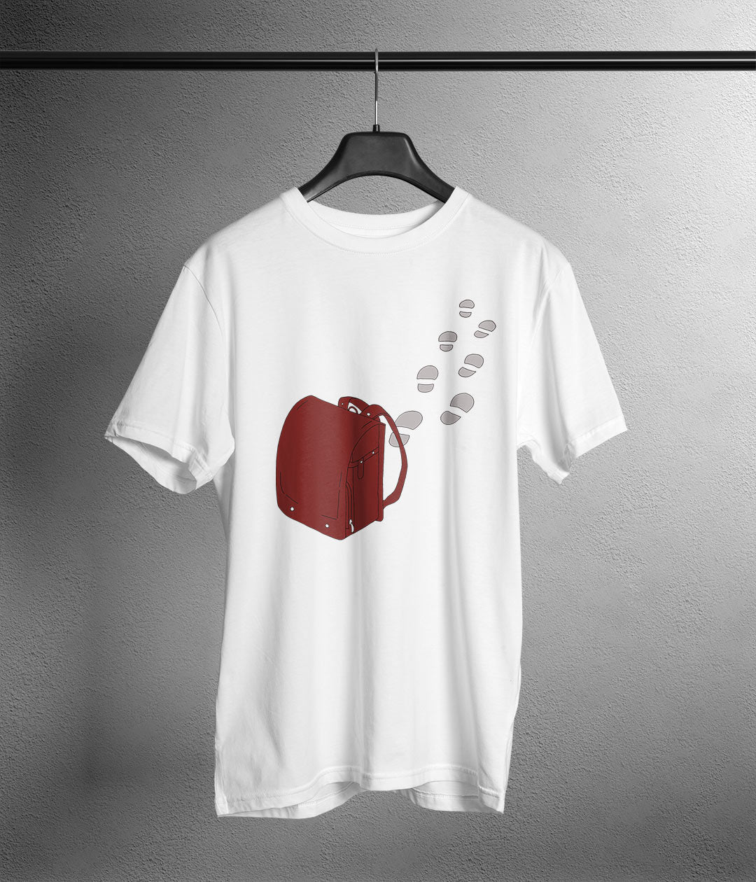 Red anime backpack on white t shirt with footsteps