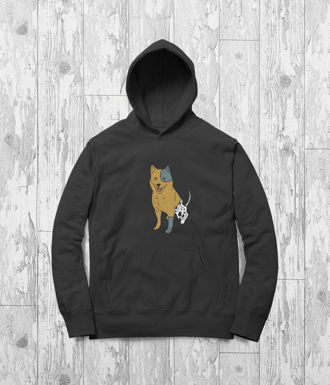 Anime dog printed on a hoodie