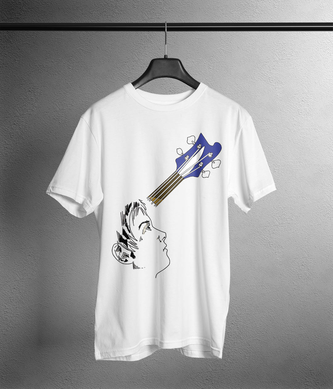 white t shirt with anime head and guitar