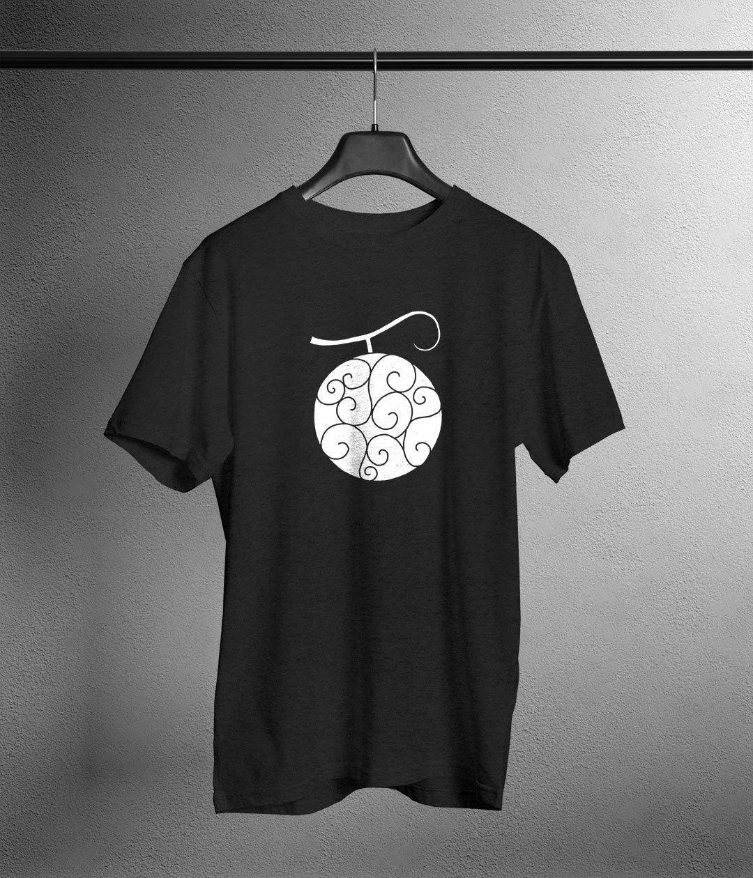 gray t shirt with a white gomu gomu devil fruit print