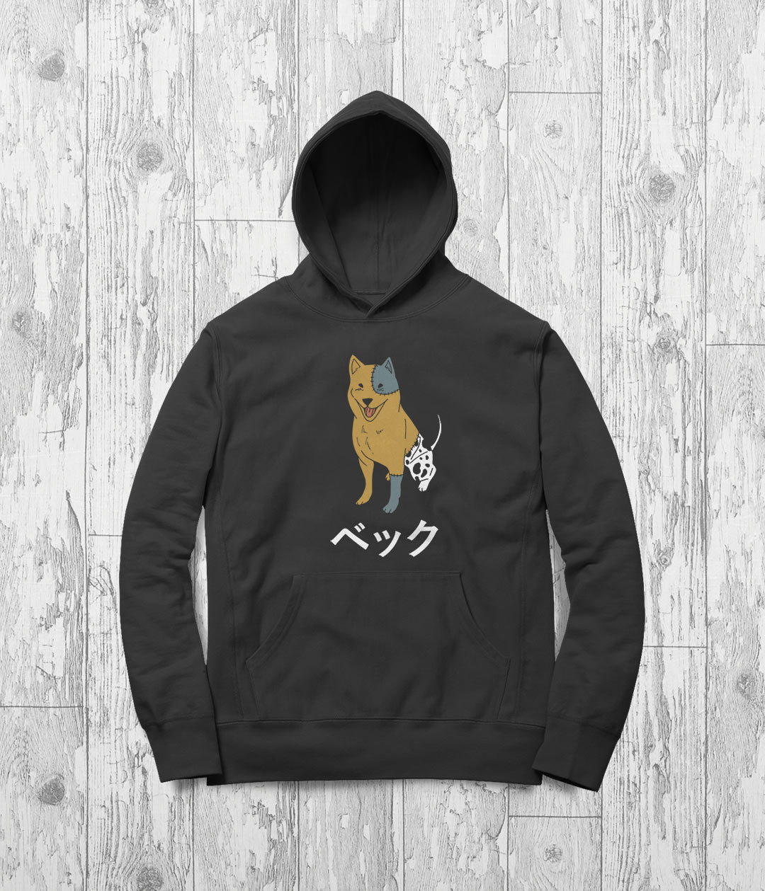 Anime dog printed on a hoodie with the katakana for Beck
