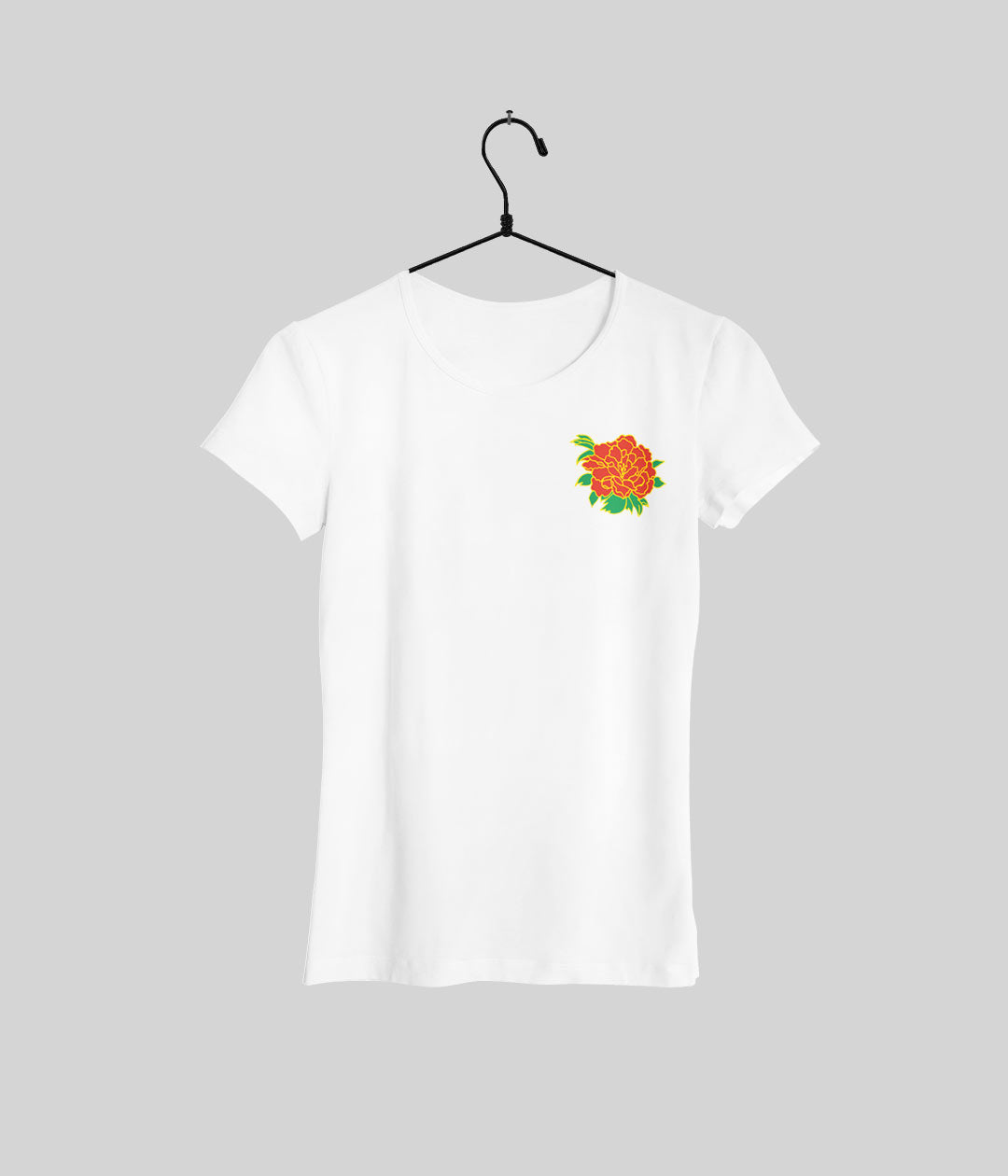 white t shirt with kakegurui flower print on left breast