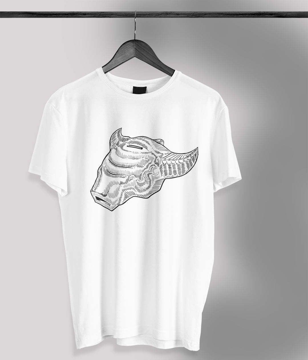 white t shirt with anime bull whistle printed in black