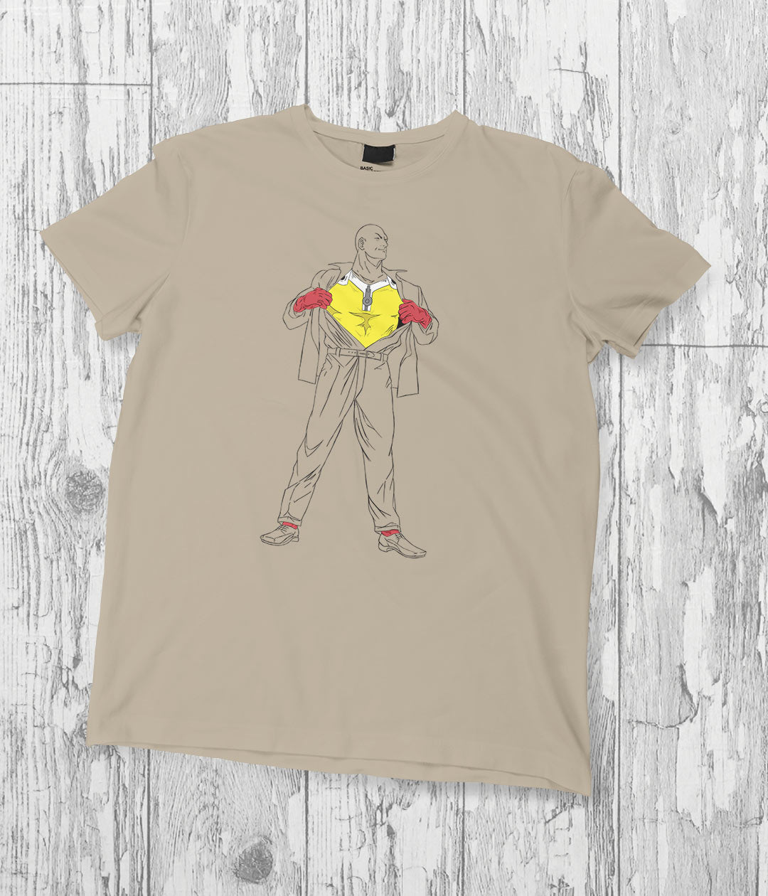 beige t shirt with anime drawing of saitama as superman
