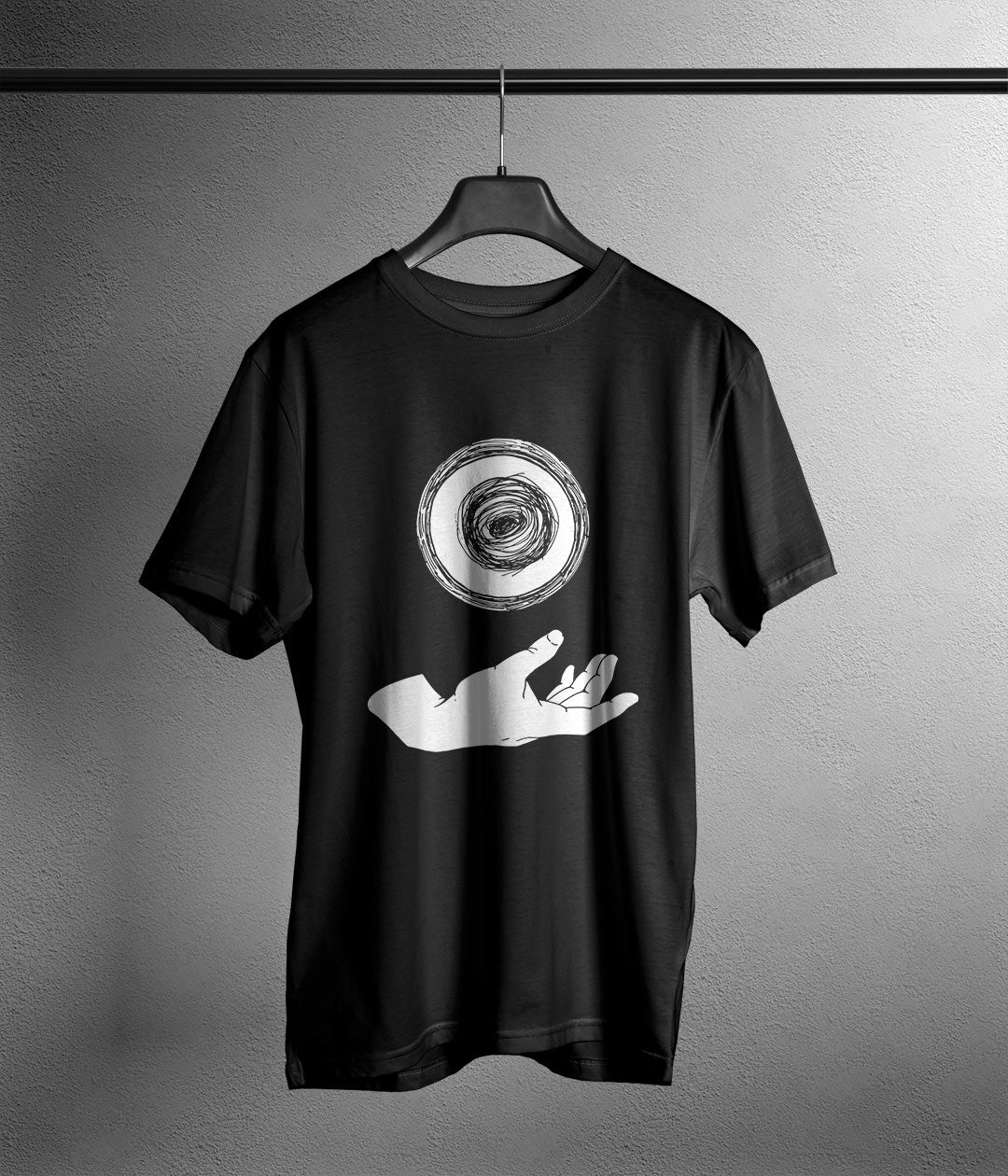 black t shirt with anime hand and rasengan printed in white