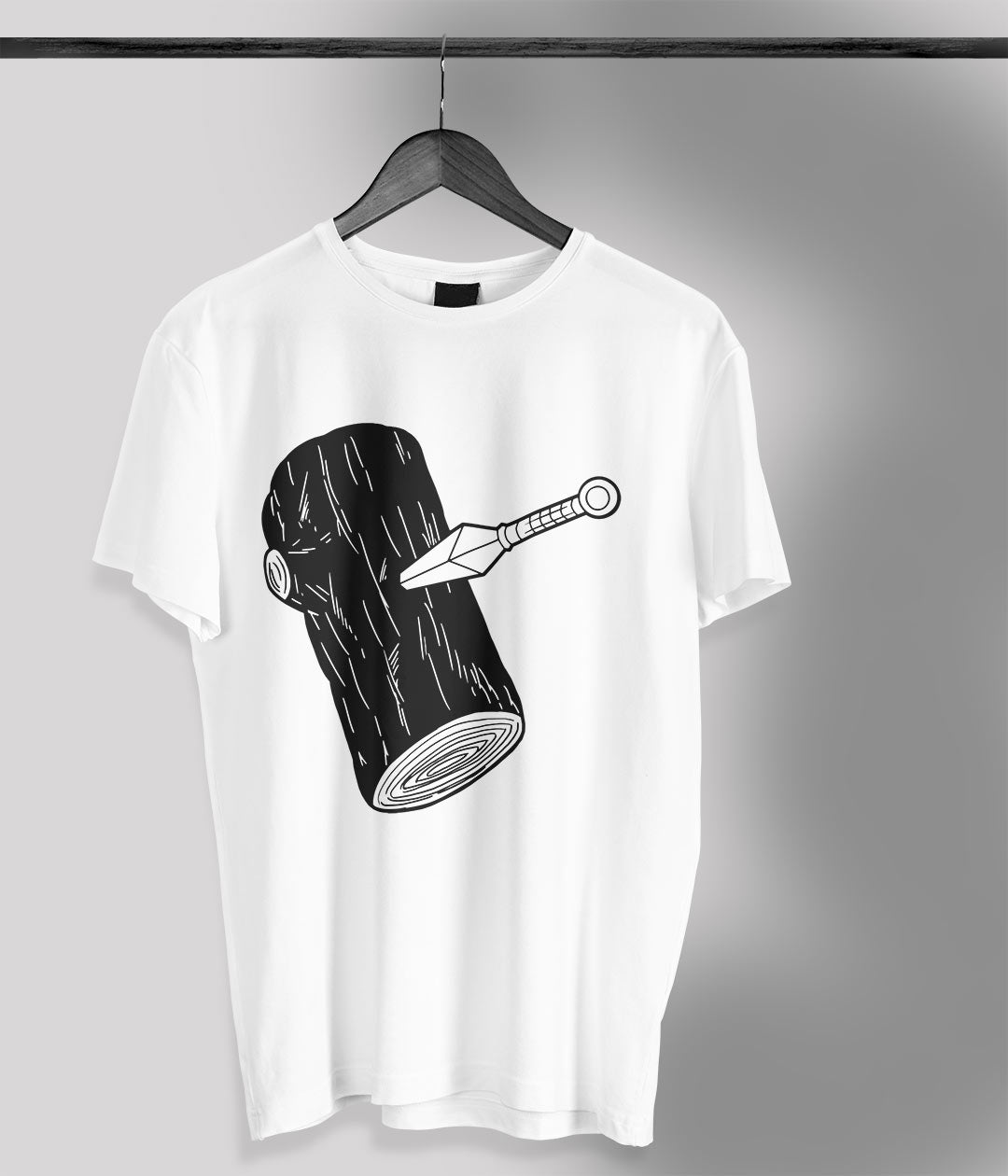 white t shirt with anime log with kunai printed in black