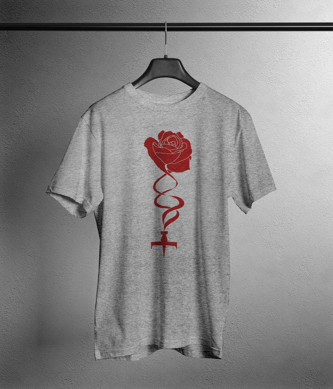 grey t shirt with anime style rose and ship printed in red