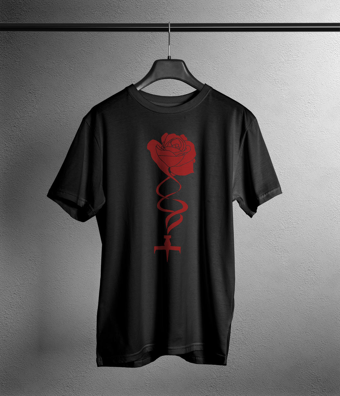 black t shirt with anime style rose and ship printed in red
