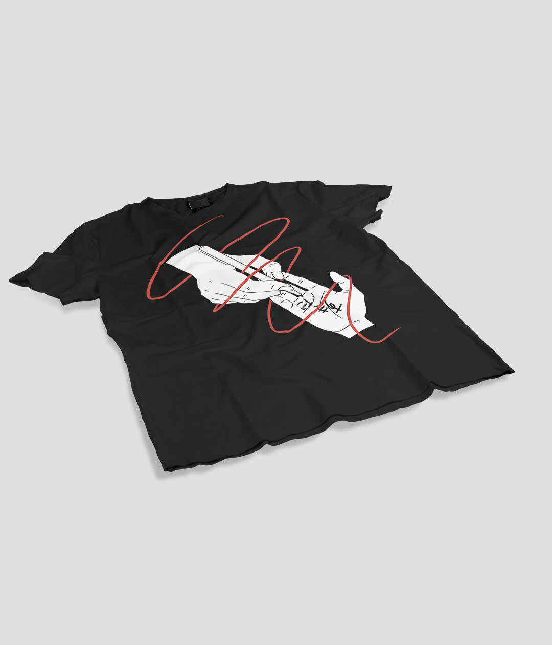 black t shirt with anime hands and red ribbon