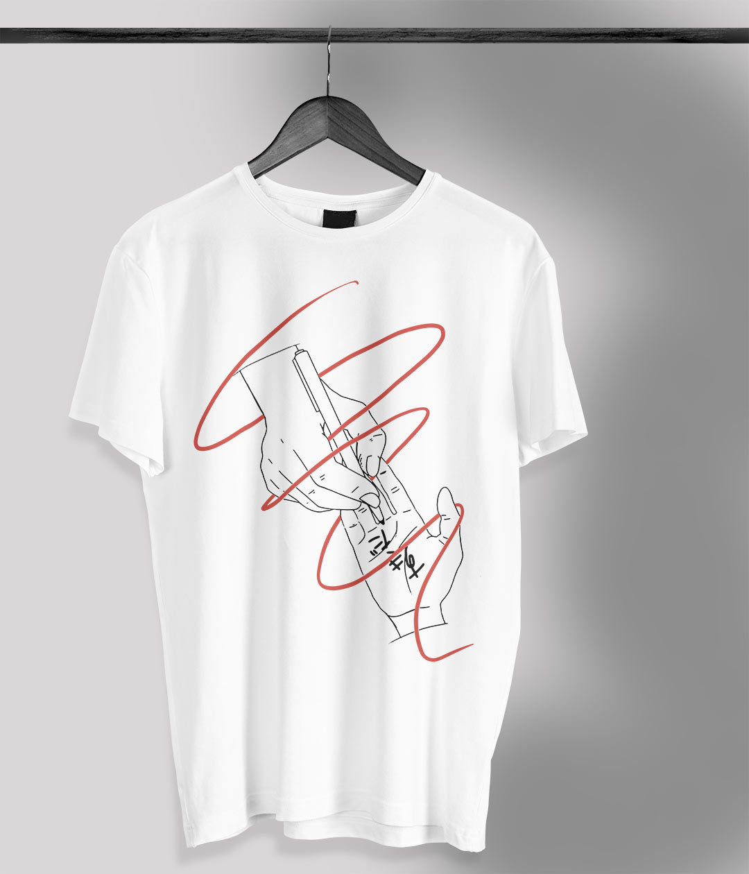 white t shirt with anime hands and red ribbon