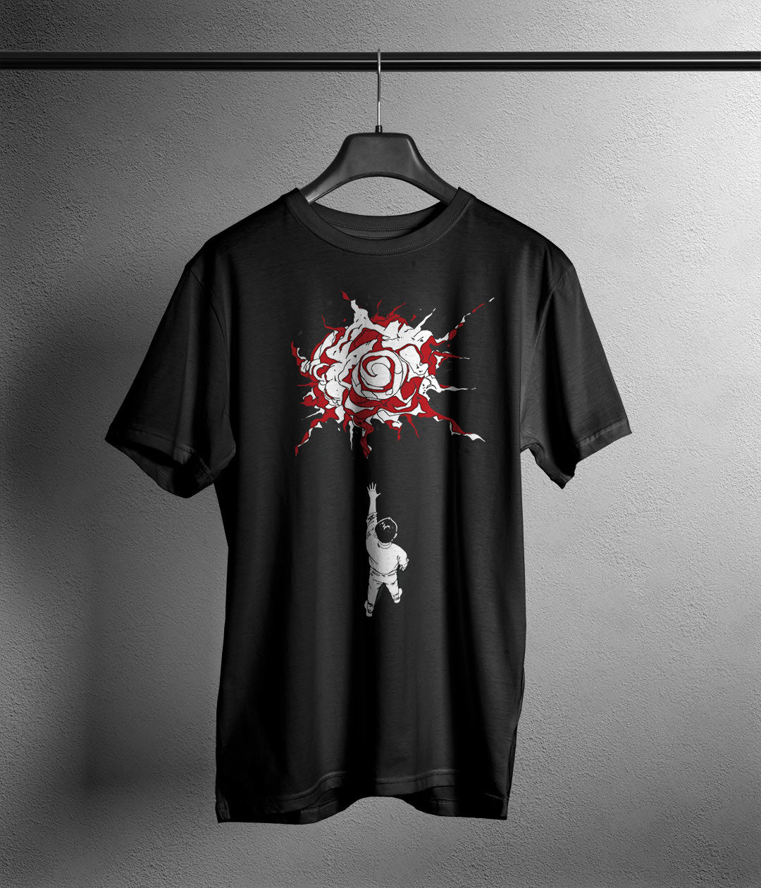 black t shirt with anime figure akira bike exploding