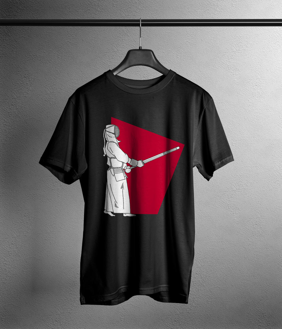 black t shirt with manga style kendo player printed in white and red