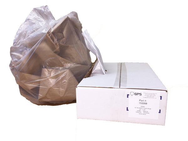 Clear Trash Can Liners, 12-16 Gallon, 24