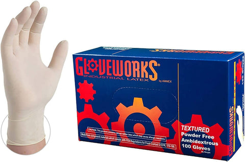 Gloveworks Industrial White Latex Gloves, 4 Mil, Powder Free, Textured, Box of 100
