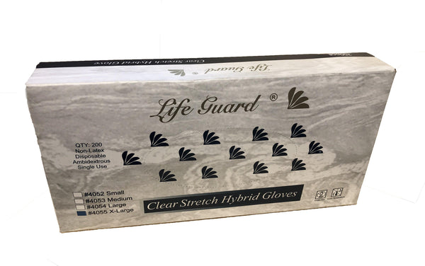 Lifeguard Clear Stretch Hybrid Gloves, Latex Free, Ambidextrous, 200 Gloves Per Box