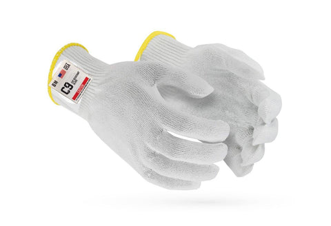 C9, 10 GG Cut Resistant White Glove with Hang Up Loop, ANSI Cut Level 5 - Sizes XXS-XXL