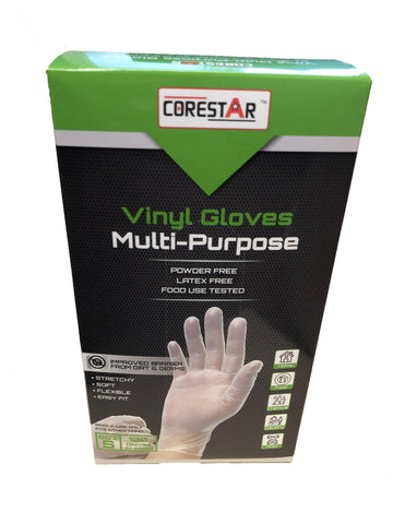 Corestar by Super Fit Vinyl Multi Purpose Disposable Gloves, Powder Free, Latex Free, 100 Gloves Per Box, Size Small