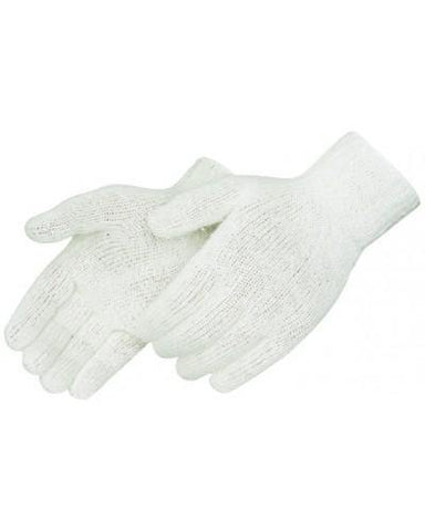 Cotton Poly String Knit Gloves, Natural White, 7 Gauge, Sold By Dozen