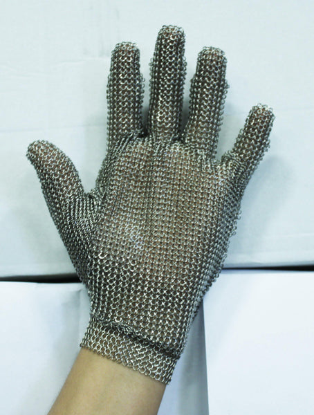 Steel Mesh Glove, Stainless Steel - Sizes XS-XL, Snap Wrist Closure