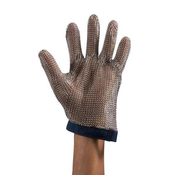 Steel Mesh Glove with Black Strap, Stainless Steel - Sizes S - XL