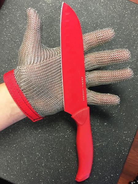 Steel Mesh Glove with Strap, Stainless Steel - Sizes XXS-XXL
