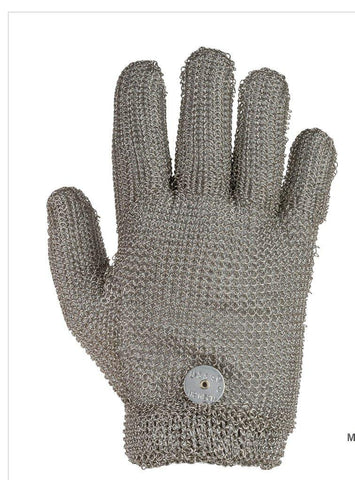 Steel Mesh Glove, Stainless Steel, with Spring Closure - Sizes XXS-XXL