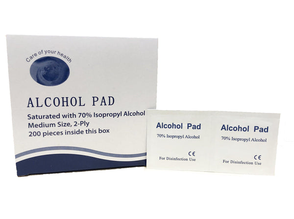 Alcohol Prep Pads, 70% Isopropyl Alcohol, Size Medium, 2-Ply, 200 Per Box