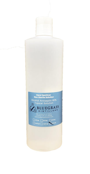 Bluegrass 16 oz Hand Sanitizer, Non-Sterile Solution, Alcohol Antiseptic 80%, Topical Solution Liquid, Sold by Each