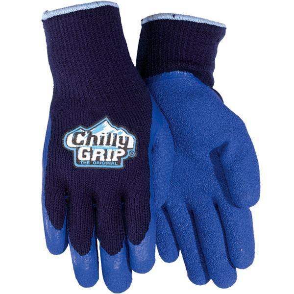 Chilly Grip, Blue Acrylic, Rubber Foam Coating Insulated Gloves, Sizes XS-XXL
