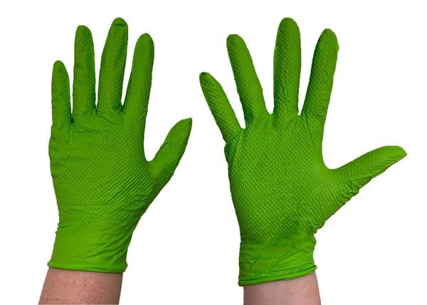 The Green Diesel, Powder Free Nitrile Disposable Gloves, 8 Mil, Sizes M-XXL