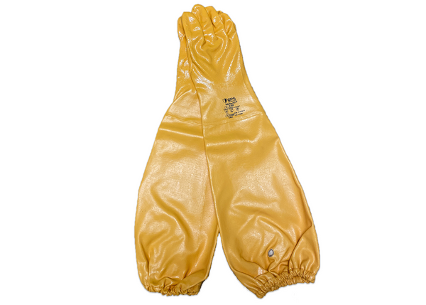 26-inch Nitrile Elbow Length Chemical Resistant Yellow Gloves, 100% Liquid Proof