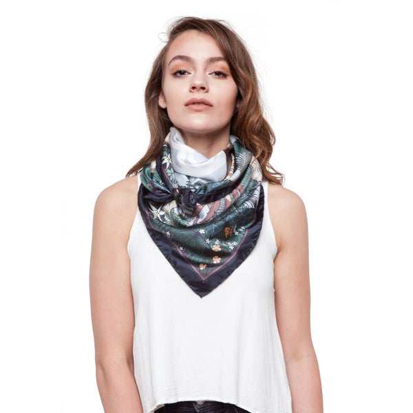 Noctua - Discovery in Madagascar, female model wearing silk twill scarf