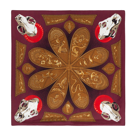 "Noctua - Offerings to Bastet, 36X36"" Egyptian inspired Silk Twill Scarf, Red and Gold"