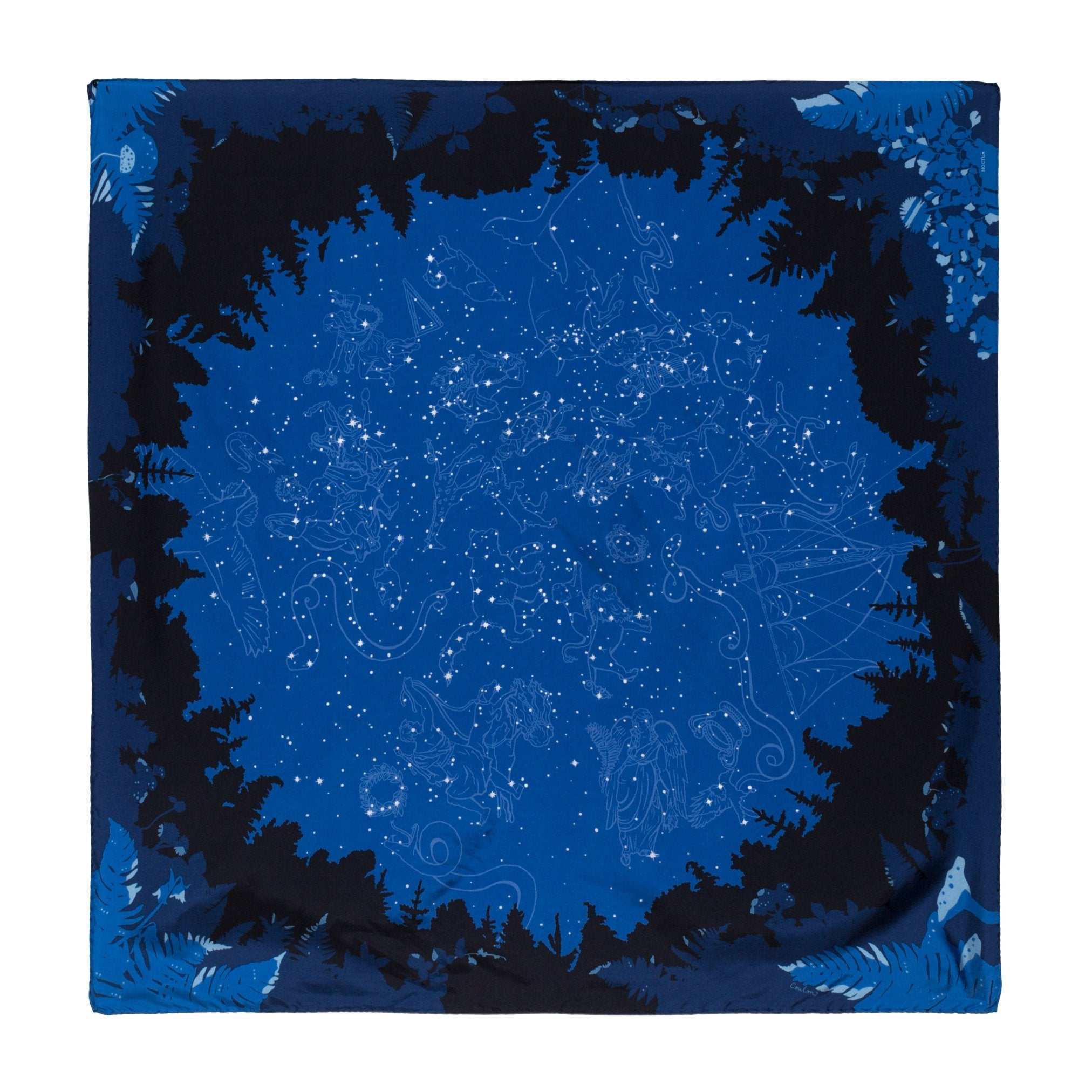 "Noctua - Nightfall's Fortune, 36X36"" Silk Twill Scarf, Blue and Navy"