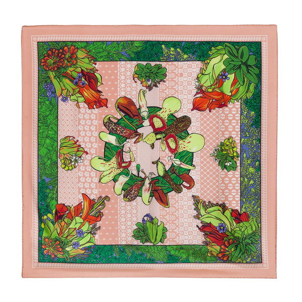 "Noctua - Peril's Bouquet, 36X36"" Silk Twill Scarf, Carnivorous Plants, Green and Peach"